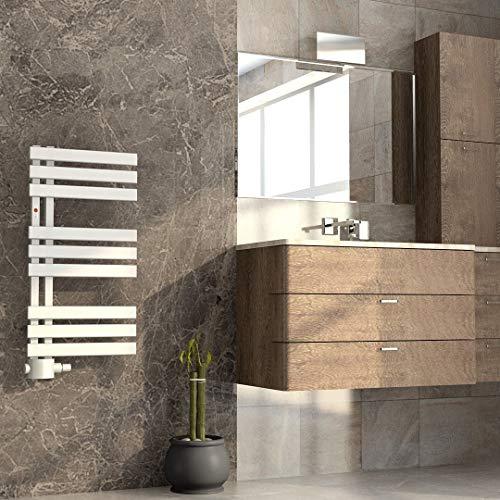 Mert ASK Design Heizung Paneelheizkörper gerade elektrisch oder Warmwasser 1/2 Zoll Badheizung 800x400 Badheizkörper Anschluss 50 mm weiß Heizkörper
