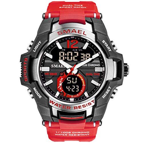 AYDQC Análogo de los Hombres de Deportes LED Digital Relojes Deporte al Aire Libre Relojes de Moda Reloj de Cuarzo Resistente al Agua Cronómetro analógico fengong (Color : A)