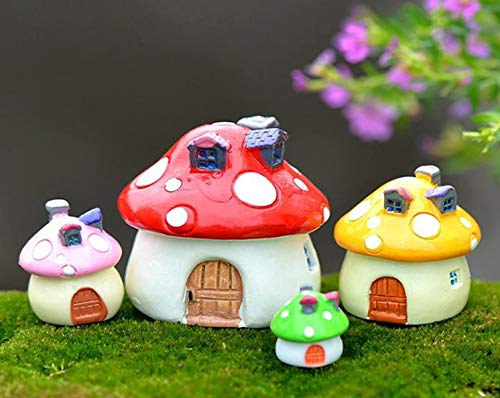 Mushroom Garden Decor, Fairy House Figurines for Women, Gardeners, Used as Sculptures, Decorations, Ornaments for Outdoor Gardens, 4pc