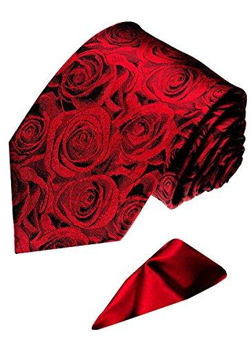 Lorenzo Cana - Marken 2 er Set aus 100% Seide - Festliche Seidenkrawatte mit Einstecktuch Rote Rosen Hochzeit - 3606601