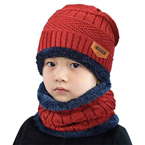 heekpek Bebé Niños Chicos Chicas Cálido Conjunto de punto bufanda, Conjuntos de gorro, Bufanda circular Beanie Sombrero de esquí, Conjuntos 2 EN 1 Accesorios de invierno (Rojo)