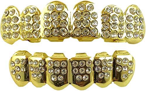 Top Class Jewels 24K vergoldeter Compatible with Grillz mit Micropave CZ Diamanten + 2 EXTRA Formteile (Jeder Stil, Weißgold, Silber, Gold, Diamanten) (Gold mit Diamanten)