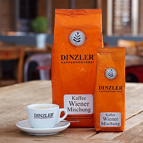Dinzler Kaffeerösterei Wiener Mischung 1000g | ganze Kaffeebohnen | hochwertige Kaffeebohnen | Ideal für French Press & Vollautomaten | Geschmack wie im Wiener Kaffeehaus