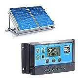 Aoutecen Regulador de batería Solar Controlador de Carga Solar 20A Durable para Patio de casa Comercial al Aire Libre