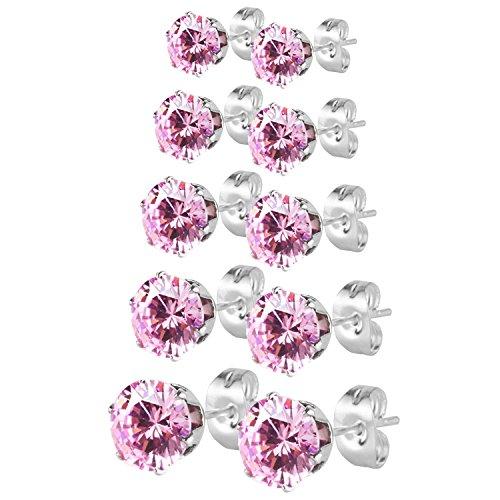 JewelrieShop conjunto de pendientes para mujeres y niñas con travesaño, color blanco negro rosa, hipoalergénicos sin níquel