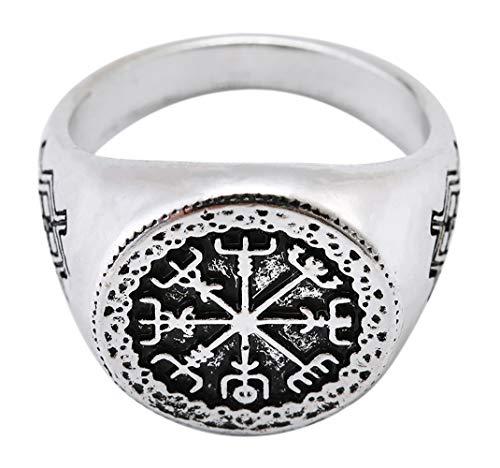 Lemegeton - Anillo con runas vikingas Vegvisir, Gungnir y símbolo de Odin [15]