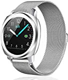 BAIZE Smart Watch, Bluetooth Smartwatches with Heart Rate Monitor Blood Pressure Activity Tracker Watch, Waterproof Fitness Tracker with Sleep Tracker Step Counter for Women and Men (Silver-N)