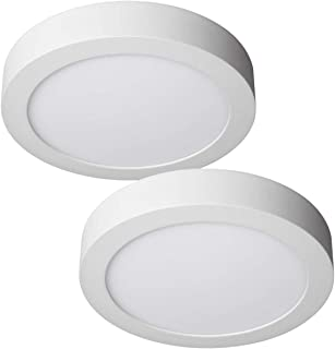 JANDEI - 2x Downlight LED 18W Redondo De Superficie Luz Blanca Fría 6000K, Aluminio Aro Blanco Mate