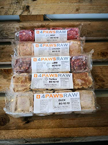 4PAWSRAW Completes 80/10/10 Raw Mix - Beef, Duck,Turkey, Lamb and Chicken...