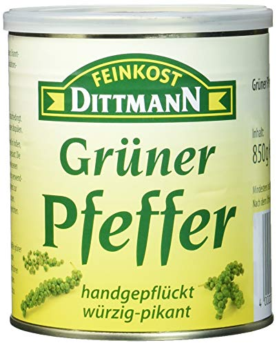 Feinkost Dittmann Grüner Pfeffer, handgepflückt, würzig-pikant, 1er Pack (1 x 850 g)