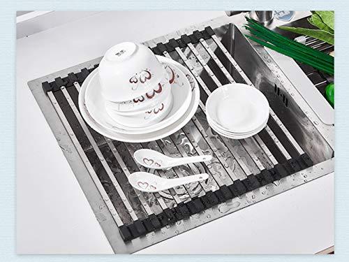 QIANC Escurreplatos Plegable Acero Inoxidable,para Fregadero, escurreplatos de Cocina, Color Negro,33 * 55cm