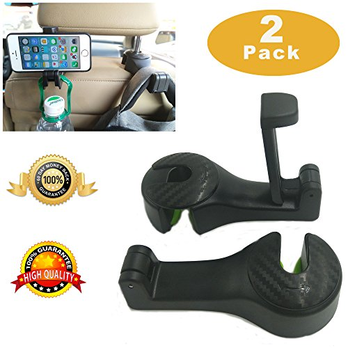 Car Headrest Hook, Universal Car Phone Holder Upgrated 2 in 1 by Strong and Durable Backseat Headrest Hanger for Holding Phones and Hanging Bag, Purse, Cloth, Grocery - Set of 2 (Black)