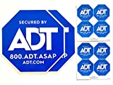 2 ADT Yard Signs Plus 8 Security Doors and Windows Decals, Outdoor Surveillance Alarm Deterrent