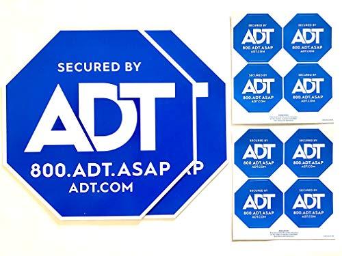 2 ADT Yard Signs Plus 8 Security Doors and Windows Decals, Post not Included - Outdoor Surveillance Alarm Deterrent