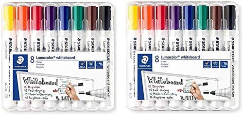 Staedtler Lumocolor 351 WP8 Whiteboard-Marker (Rundspitze ca. 2 mm Linienbreite, Set mit 8 Farben (1 Pack, 2 Packungen), mehrfarbig