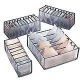 Xnuoyo Organizador de Cajones de Ropa Interior, Caja De Almacenamiento De Ropa Interior Plegable, Caja de Almacenamiento Para Sujetadores, Calcetines, Ropa Interior (4 Paquetes, Gris)