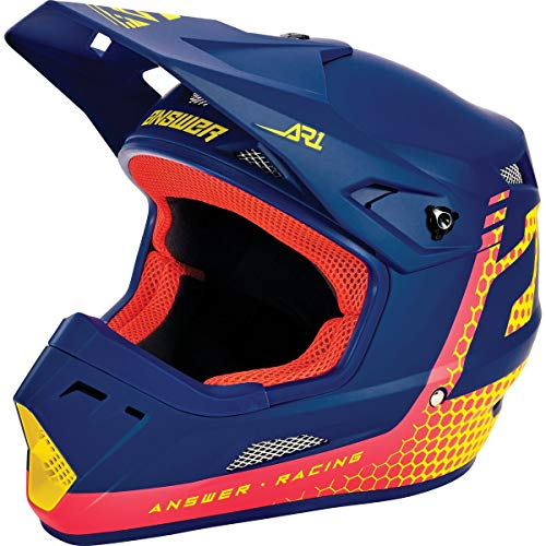 Answer Racing AR1 Charge Adult Off-Road Motorcycle Helmet - Air Pink/Pro Yellow/Midnight/Large