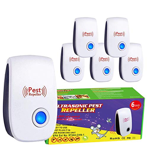 Aplicy Ultrasonic Pest Repeller 6 Pack,Plug in Electronic Indoor Pest Control,for Insects, Bugs, Mosquito Repellent Mouse, Cockroaches, Rats, Bug, Spider