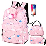 School Backpack for Teen Girls with USB Charging Port,Canvas Backpack for Women
