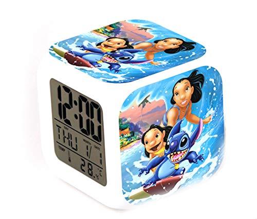 Lilo Stitch kleine thermometer gloeiende kubus wekker Led kleurrijke kleur Kinder thermometer gloeiende kubus wekker