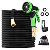 100ft Expandable Garden Hose, 3/4' Solid Brass Fittings Garden Hose with Leak-proof Design, 9 Functional Spray Nozzles, Super Durable Fabric and Lightweight Portable Retractable Hose