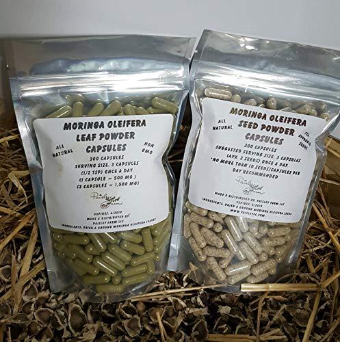 Moringa Leaf Powder Capsules & Moringa Seed Powder Capsules - Value Pack - Made Fresh On Demand! (500 Each)