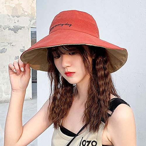 Saisma Sonnenhut Weiblicher Japanischer Doppelseitiger Breiter Sonnenschutz-Fischerhut Weibliche Koreanische Version des Wilden Sonnenhuts Sommer-Lächeln-Sonnenhut (Color : Reddish Brown)