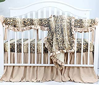Sahaler Baby Crib Bedding Set for Girls Boys   4 Pieces Set of Floral Nursery Bedding   Baby Blanket & Fitted Crib Sheets & Skirt & Rail Cover - Golden