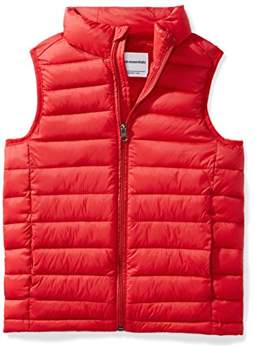 Amazon Essentials Kids Boys Light-Weight Water-Resistant Packable Puffer Vests, Red, X-Large