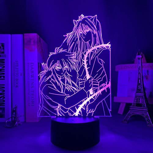Lámpara de anime 3D ilusión Yu Yu Hakusho Hiei llevó la luz de la noche para la decoración del dormitorio regalo luz nocturna Kuronue Yu Yu Hakusho-Touch Control