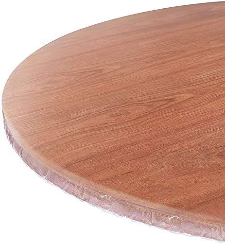 HUANXA Transparente Redondo Mantel Vinilo, Impermeable Manteles para 26-71in Mesa Redonda Borde Elástico Protector De Mesa Mantel De Mesa -diámetro 90-110cm(35-43in)