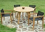 Conjunto Comedor Teca Edson. Mesa Redonda 120cm y 4 sillas.