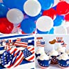 4th of July Party Supplies Pack,Patriotic Decorations include Plates,Flatware Set,Banner,Latex Balloons Set,Foil Balloons,Cupcake Toppers and Wrappers for Independence Day Memorial Day(124Pcs) #4