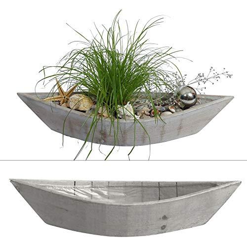 2 Boote zum Bepflanzen im Set - 55 cm lang - Blumentopf aus Holz im Maritim Stil, Blumenkasten (Grau)