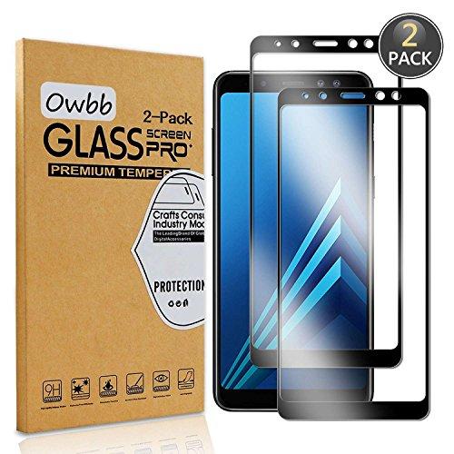 Owbb [2 Pièces] Film Protecteur D'écran en Verre Trempé pour Samsung Galaxy A8 (2018) 5.6pouce Noir Couverture Complète Protection 99% Haute Transparent Anti-déflagrant