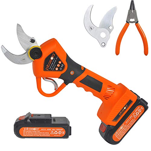 Pikasola Electric Pruning Shears for Bushes, Tree Branch, Limb, Cordless Electric Pruner with 2 Lithium Battery, 6-7 Working Hours, 1.2inch Diameter Electric Shear with 2 Replacement Blades.