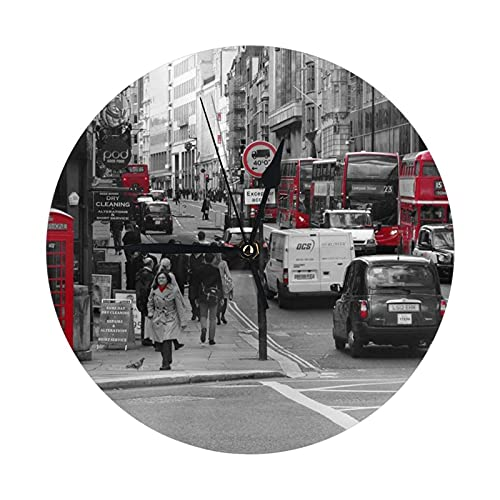 GOSMAO Reloj de Pared Redondo,Cabina de teléfono de Londres,Reloj de Escritorio Reloj Decorativo para la Oficina de la Escuela en casa