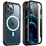 Redpepper for iPhone 12 Pro Max Case with Screen Protector,Compatible with Magsafe Full Body Heavy Duty Shockproof Case for iPhone 12 Pro Max-6.7inch (Black)
