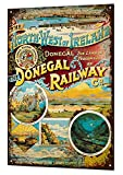 PotteLove Vintage Aluminum Donigal Railway Metal Sign Retro Tin Holiday Look Reproduction Metal Sign Retro Tin Plaque For Garage Man Cave Home Decor 8' X 12'