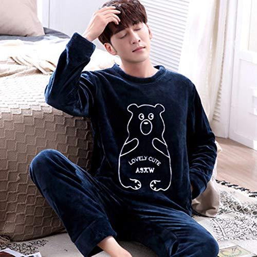 Pijama Hombre Mangas Largas Set,Hombres Pijamas Set Invierno Espesan Ropa De Dormir Caliente Dibujos...