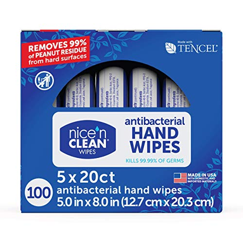 Nice 'N Clean Anti-Bacterial Hand Wipes Kills 99.99% of Germs 100 Count ( Pack of 5 )