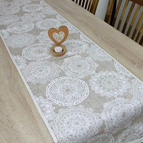 Beige Mandala Tischläufer, das Beste Geschenk für die schönste Küche von HomeAtelier, schönes Muster, Perfekt für Tisch oder Kommode, 100x40cm, 130x40cm, 150x40cm, 170x40cm