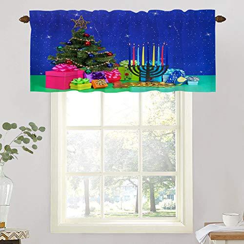 BaoNews Christmas Tree Gold Kitchen Valances Window Curtain, Christmas Holiday Ornaments Bright Multi ColorsBlackout Decoration Window Valances Curtains Drapes Kitchen Bedroom, 52 X 18 Inch