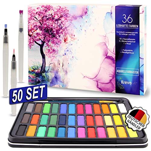 Krevo Art Aquarellfarben Wasserfarben Set, 36 lebhafte Farben, 3 Wassertankpinsel, 1 Pinsel, 10 Aquarellpapier - Geeignet für Anfänger und Profis