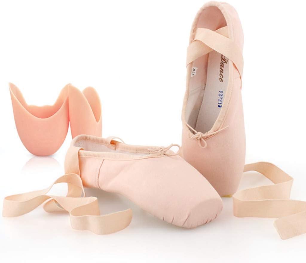 LPZ Jazz Shoes Ballet Dance Shoes Adult Women's Point Shoes Shoes Children's Dance Shoes Satin Straps Girls Flat Ballet Shoes (Color : A2, Size : 33)