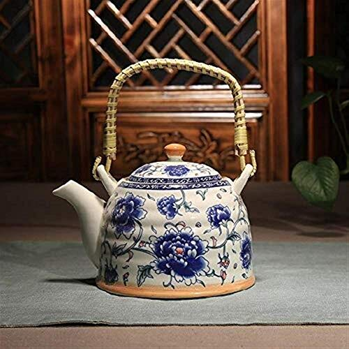 FEE-ZC Ceramic Kettle Enamel Jug Kettle Teapot,Ceramic Teapot with Filter,Home Water Bottle 900ML