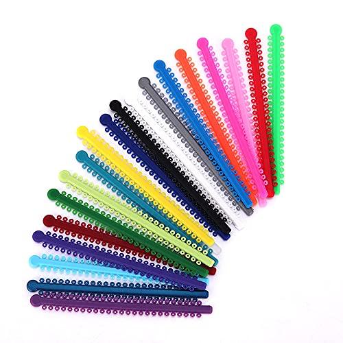 LMEILI 1 Paquete De 200 Uds. / 20 Varillas De Ortodoncia Dental Elástica Ligadura Bandas para Brackets Coloridos