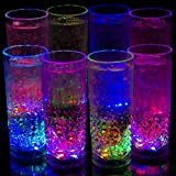 Liquid Activated Multicolor LED Highball Glasses ~ Fun Light Up Drinking Glasses - 9.5 oz. - Set of 8