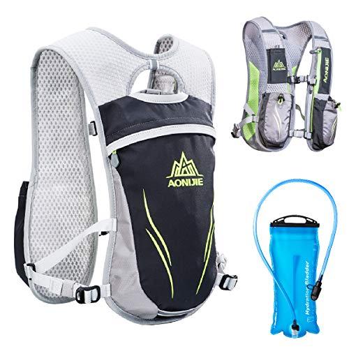 TRIWONDER Hydration Pack Backpack 5.5L Outdoors Mochilas Trail Marathoner Running Race Hydration Vest (Grey - with 2L TPU Water Bladder)