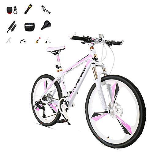 Bicicleta De Montaña De 24-26'Con 10 Piezas,Rueda De 3 Cuchillas Bicicleta Carretera Para Niñas 24 Velocidad Viene Con Linterna Gafas Montar Freno Mecánico Doble Bicicletas Montaña Mujer,Rosa,B,24'